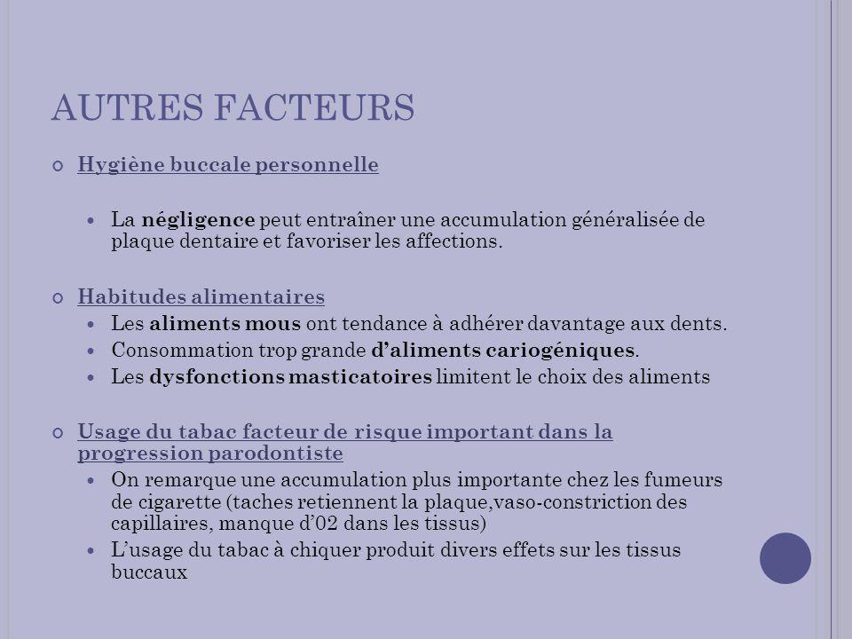 AUTRES FACTEURS Hygiène buccale personnelle