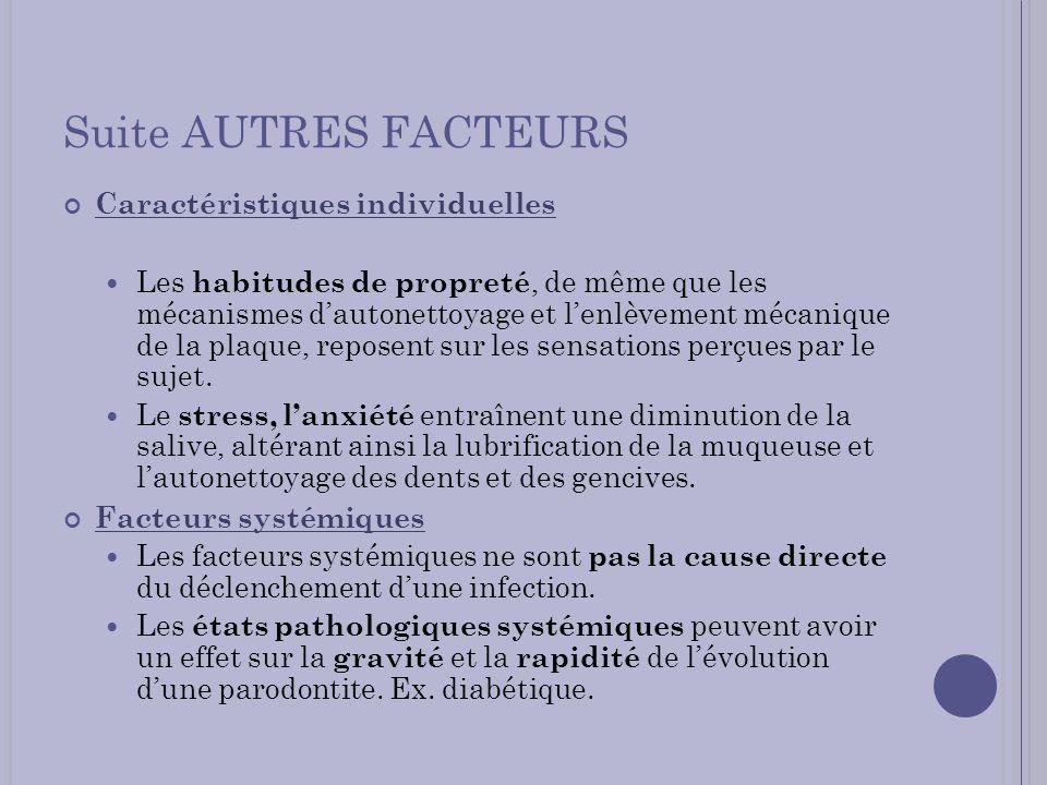 Suite AUTRES FACTEURS Caractéristiques individuelles