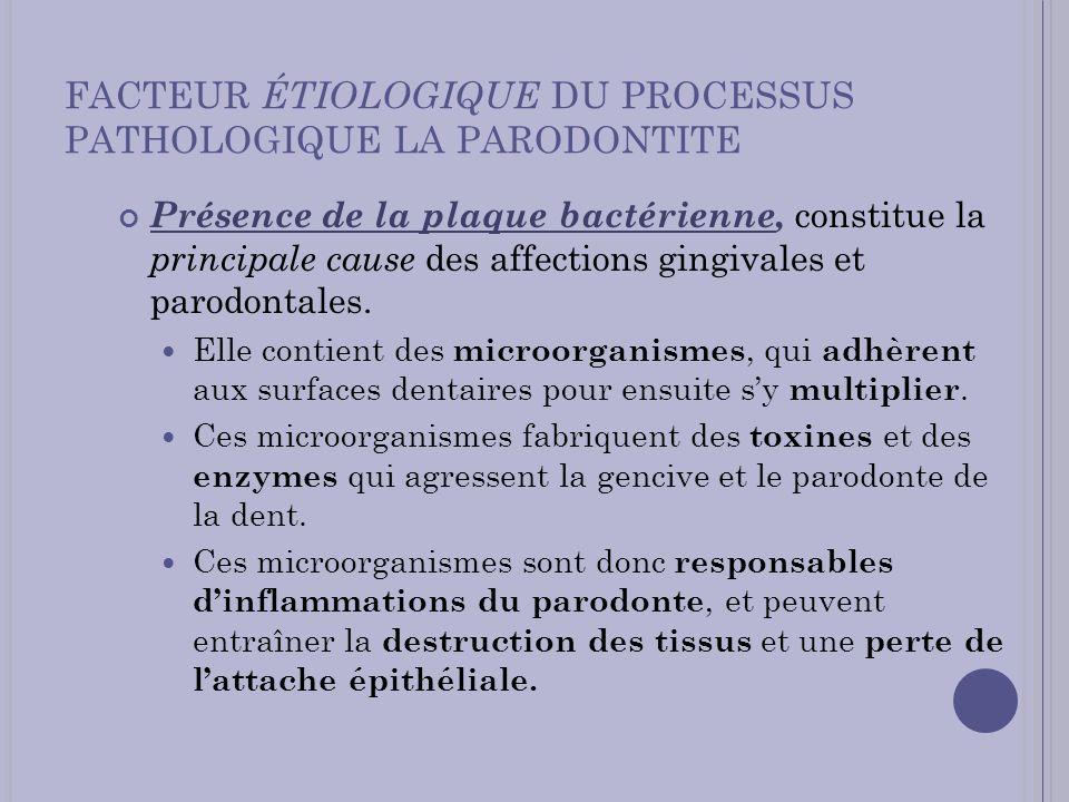 FACTEUR ÉTIOLOGIQUE DU PROCESSUS PATHOLOGIQUE LA PARODONTITE