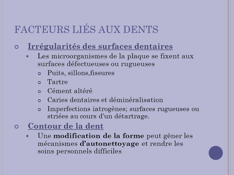 FACTEURS LIÉS AUX DENTS