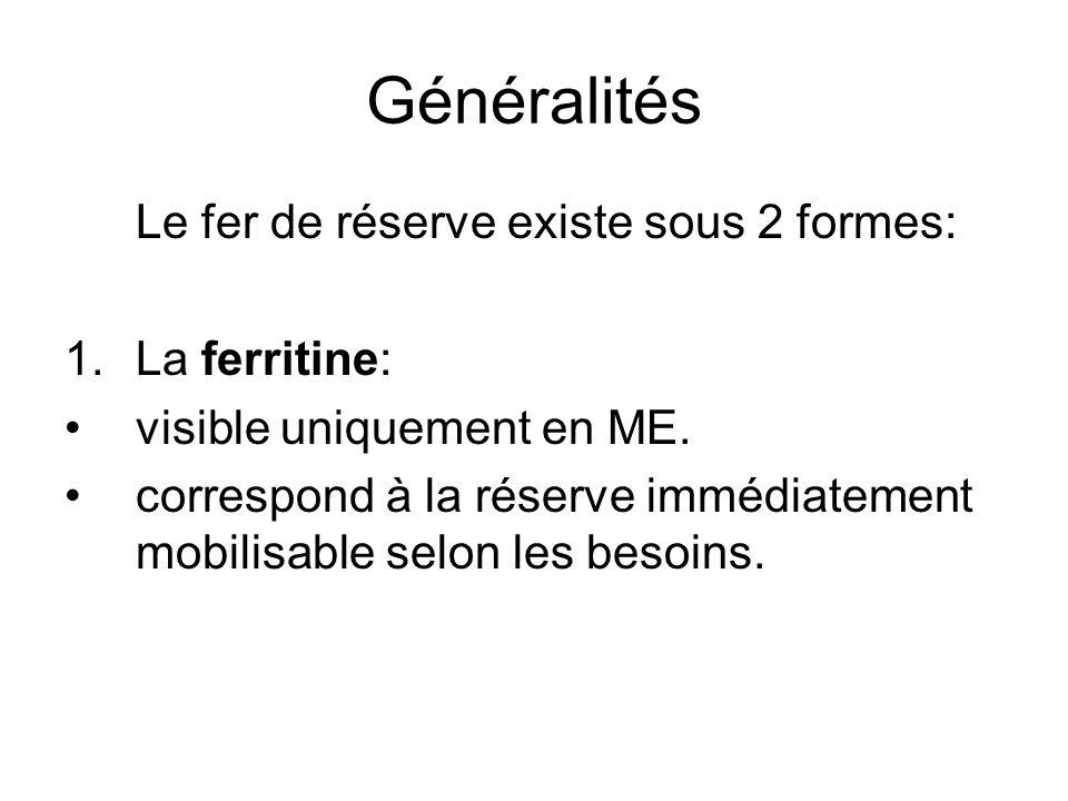 Généralités Le fer de réserve existe sous 2 formes: La ferritine: