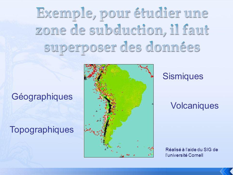 Exemple, pour étudier une zone de subduction, il faut superposer des données