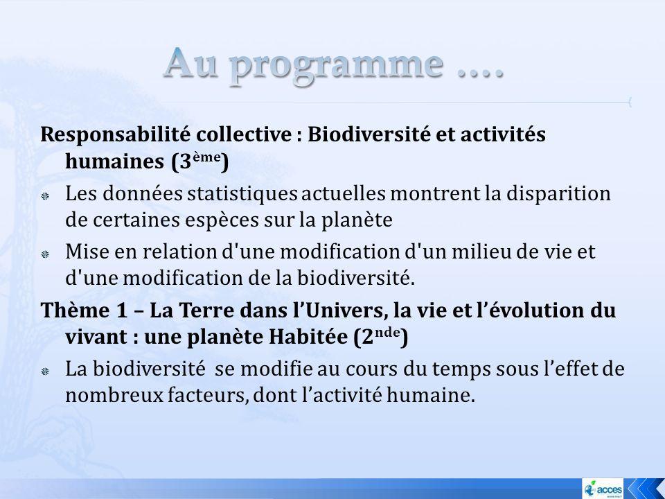 Au programme …. Responsabilité collective : Biodiversité et activités humaines (3ème)