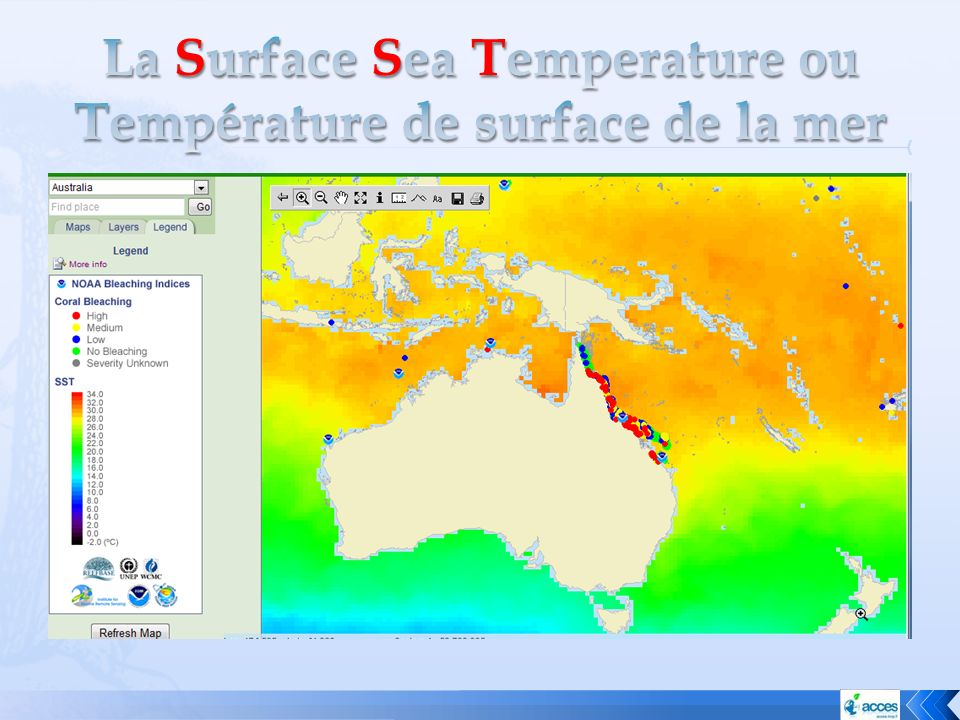 La Surface Sea Temperature ou Température de surface de la mer