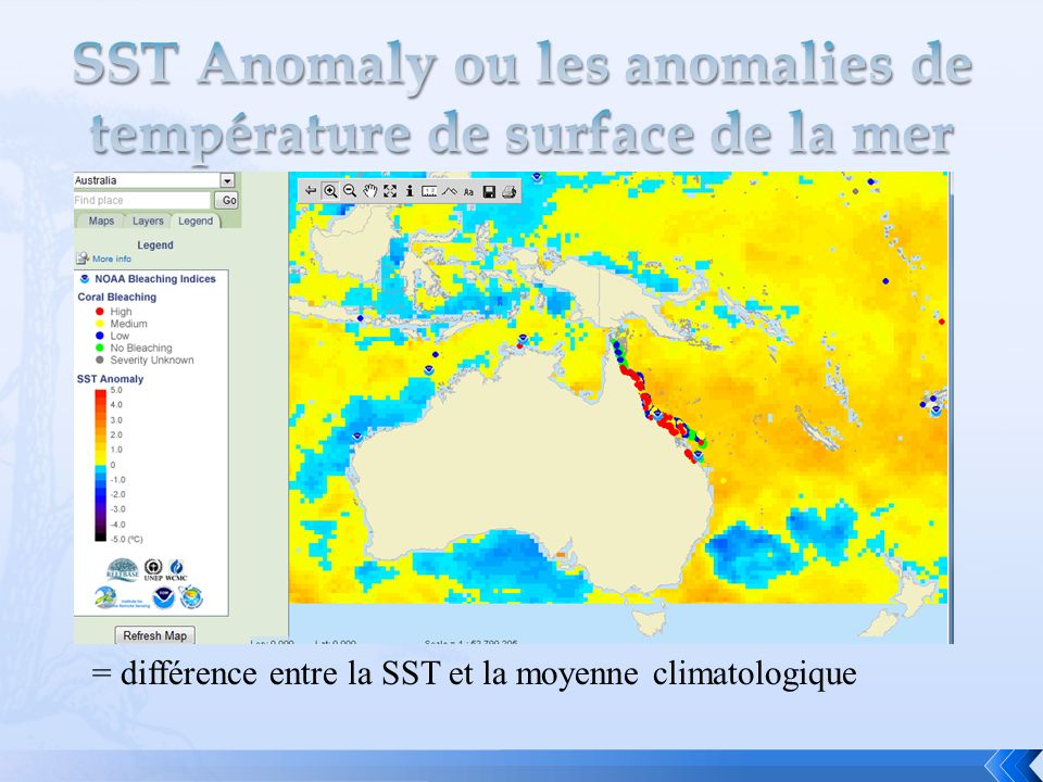 SST Anomaly ou les anomalies de température de surface de la mer