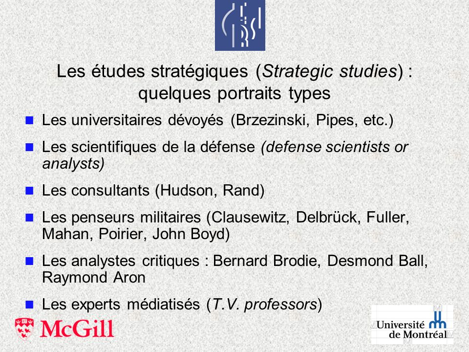 Les études stratégiques (Strategic studies) : quelques portraits types