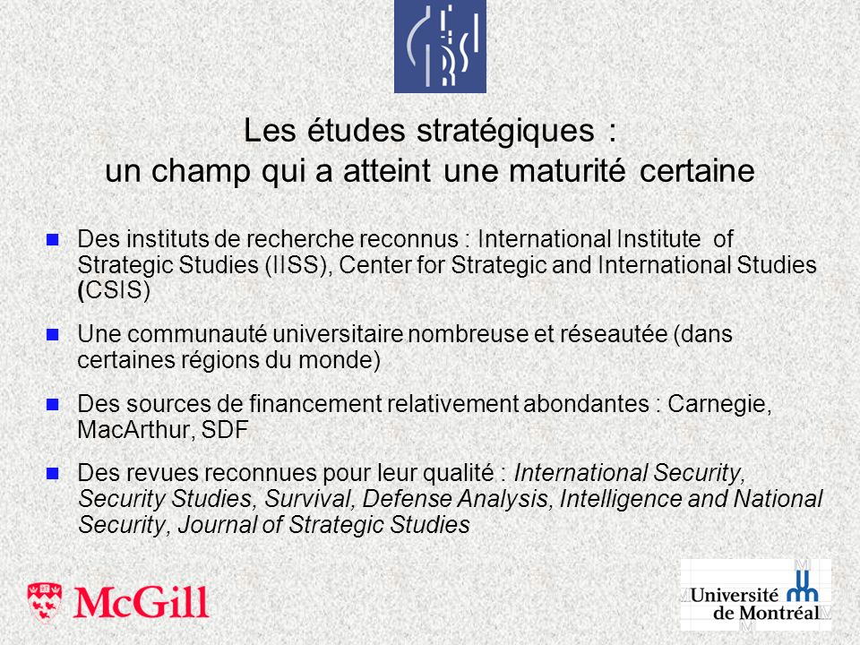 Les études stratégiques : un champ qui a atteint une maturité certaine