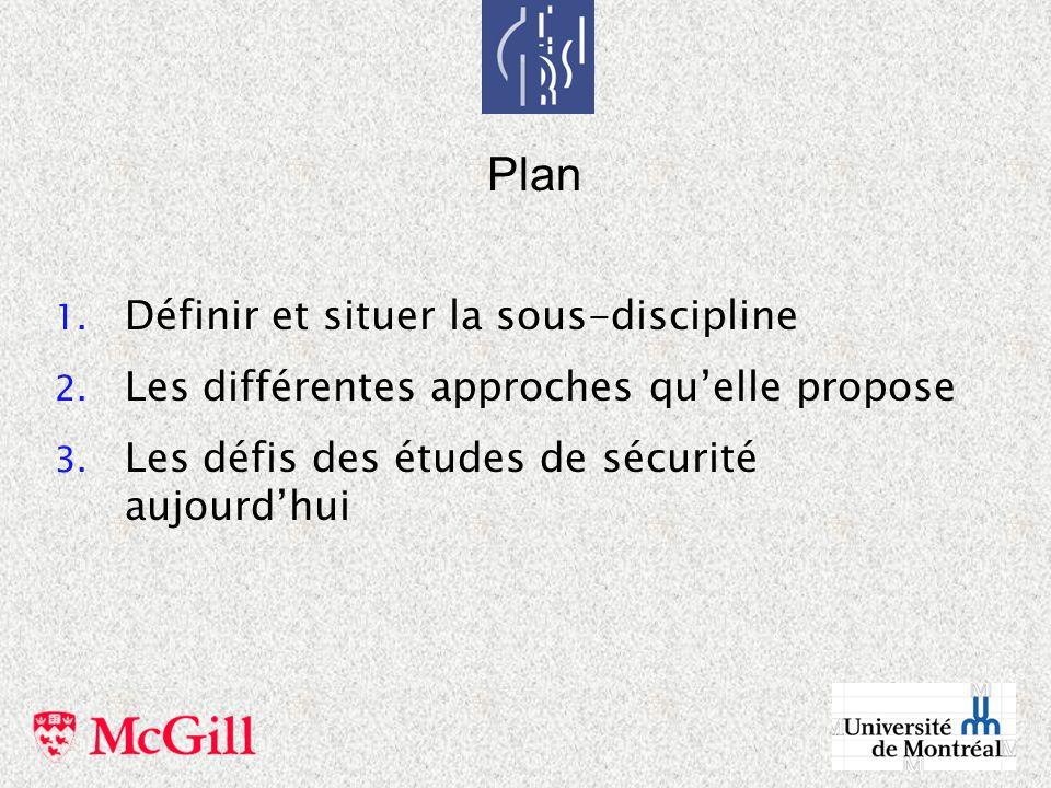 Plan Définir et situer la sous-discipline