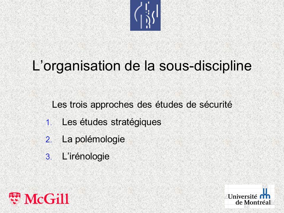 L'organisation de la sous-discipline