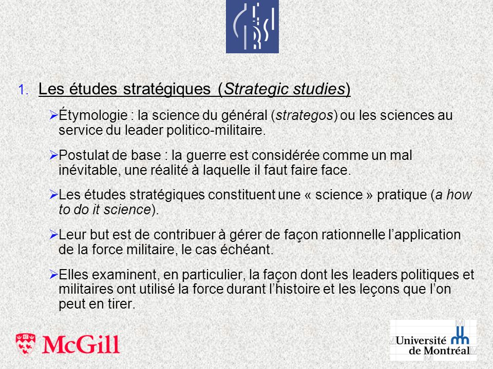 Les études stratégiques (Strategic studies)