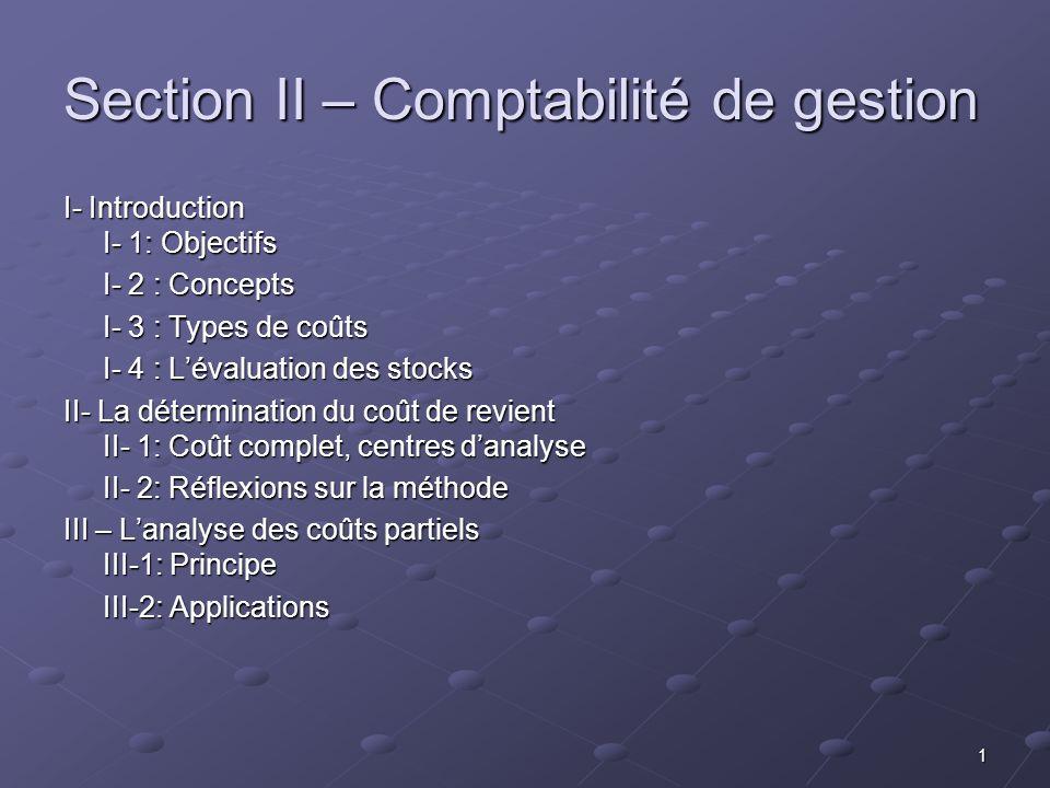 Section II – Comptabilité de gestion