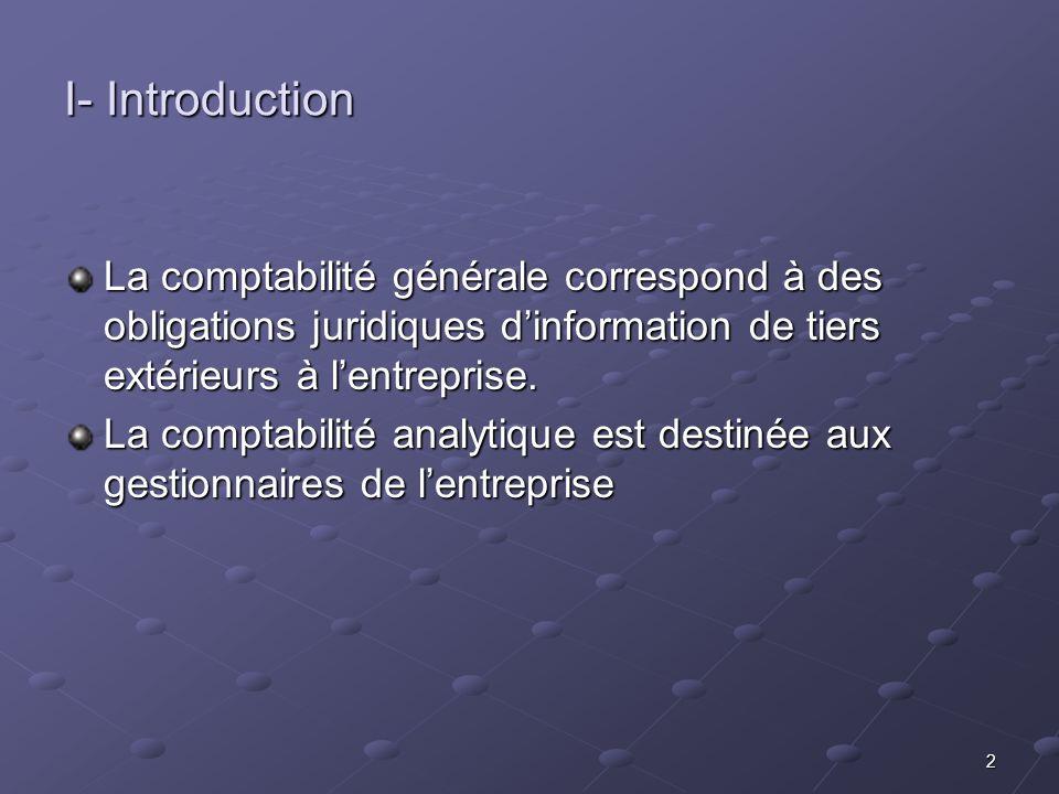 I- Introduction La comptabilité générale correspond à des obligations juridiques d'information de tiers extérieurs à l'entreprise.