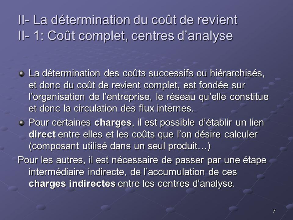 II- La détermination du coût de revient II- 1: Coût complet, centres d'analyse