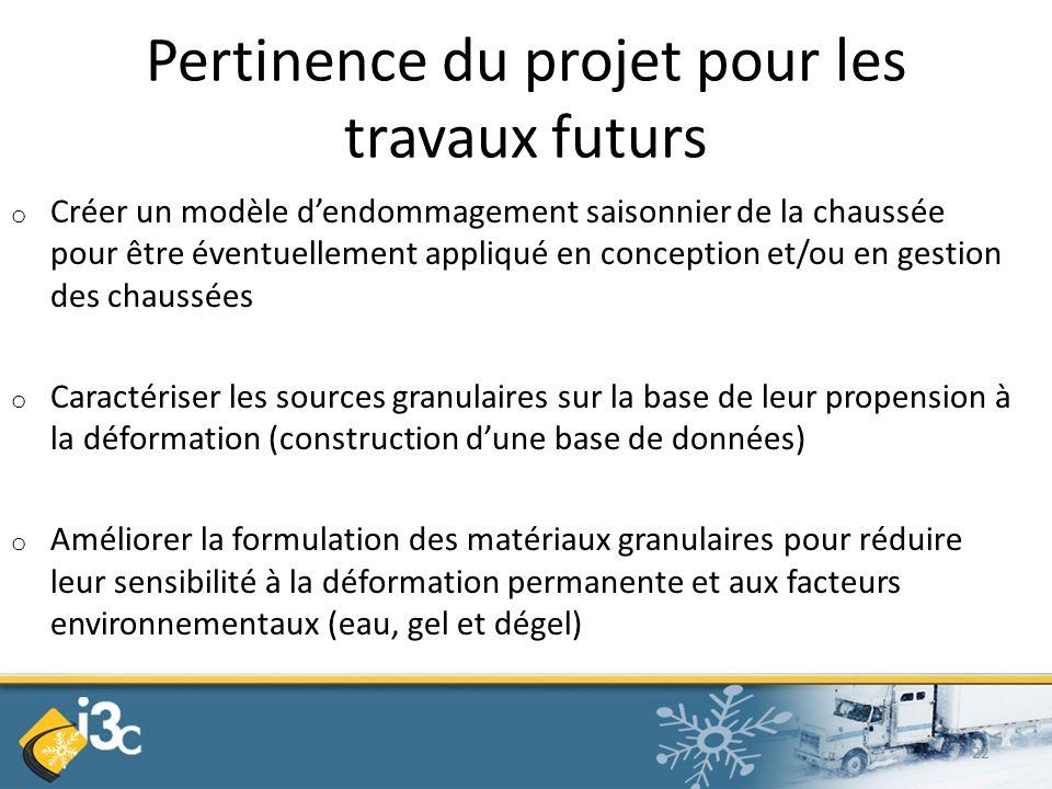 Pertinence du projet pour les travaux futurs