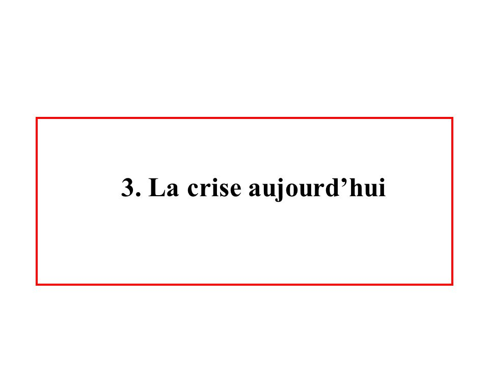3. La crise aujourd'hui