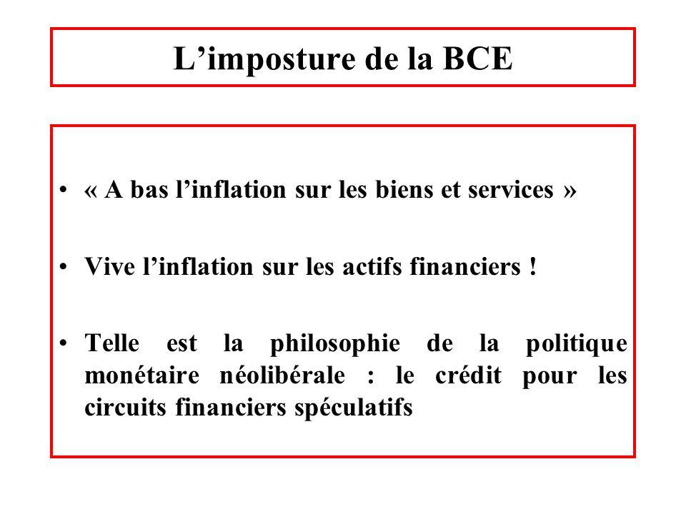 L'imposture de la BCE « A bas l'inflation sur les biens et services »