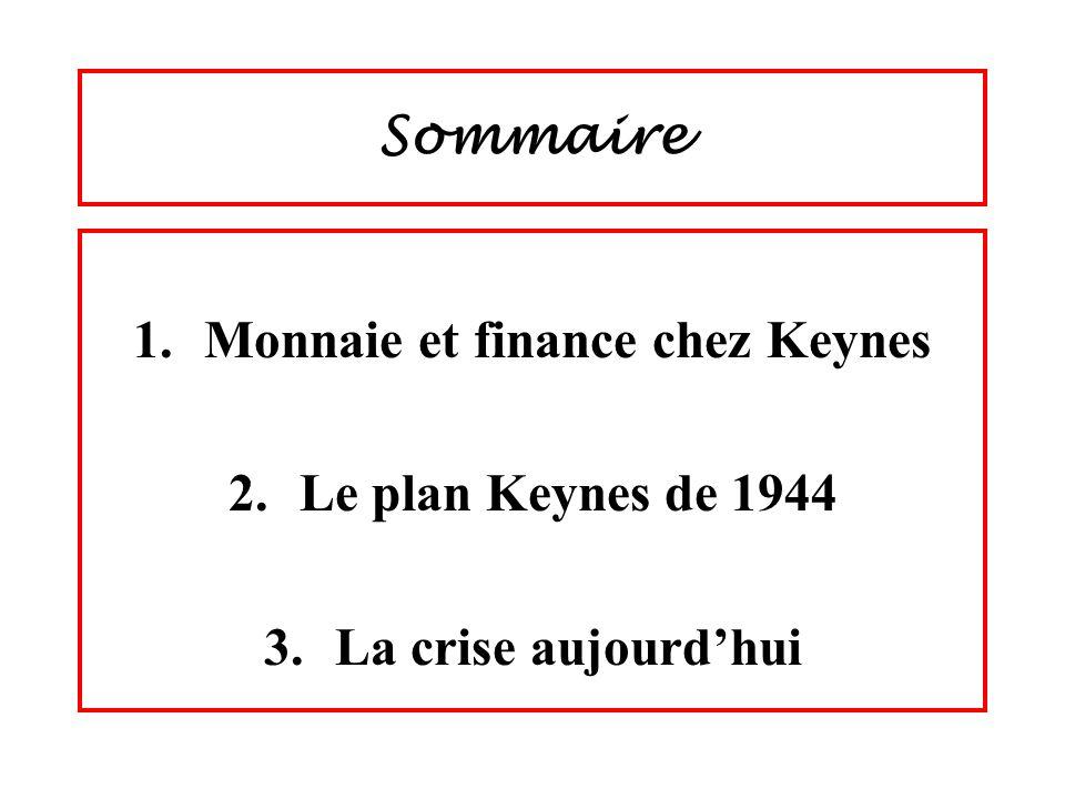 Monnaie et finance chez Keynes