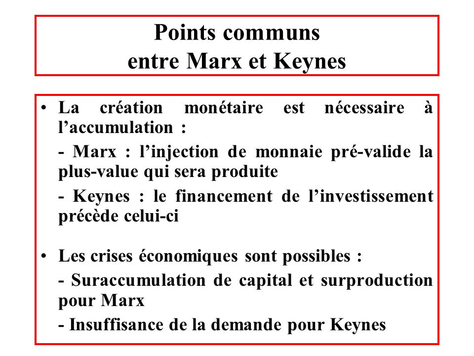 Points communs entre Marx et Keynes