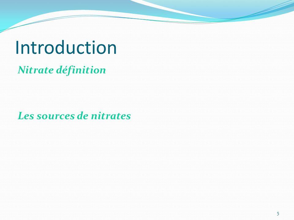 Introduction Nitrate définition Les sources de nitrates