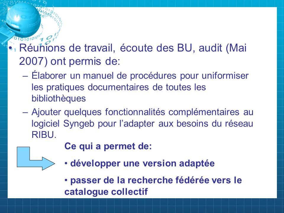 Réunions de travail, écoute des BU, audit (Mai 2007) ont permis de: