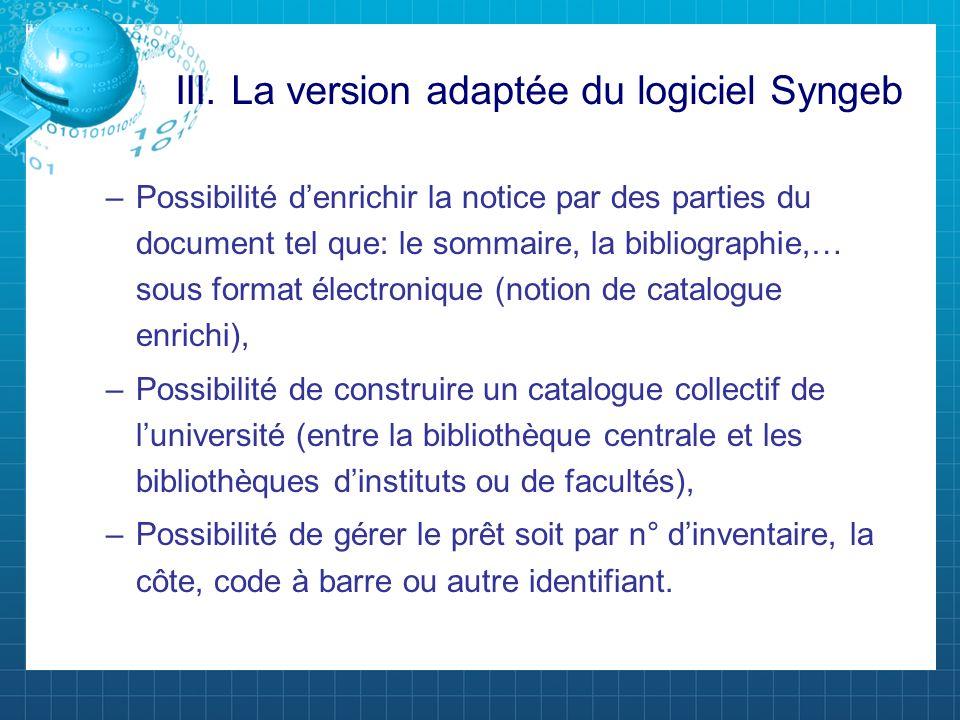 III. La version adaptée du logiciel Syngeb