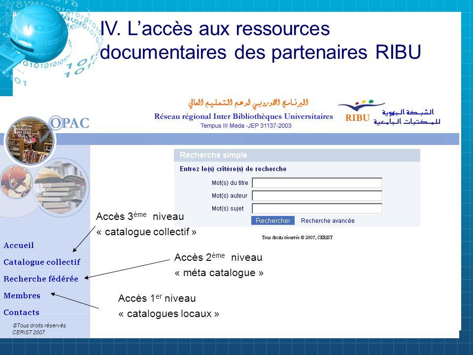 IV. L'accès aux ressources documentaires des partenaires RIBU