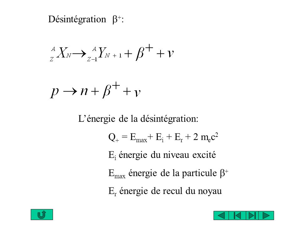 Désintégration b+: L'énergie de la désintégration: Q+ = Emax+ Ei + Er + 2 mec2. Ei énergie du niveau excité.