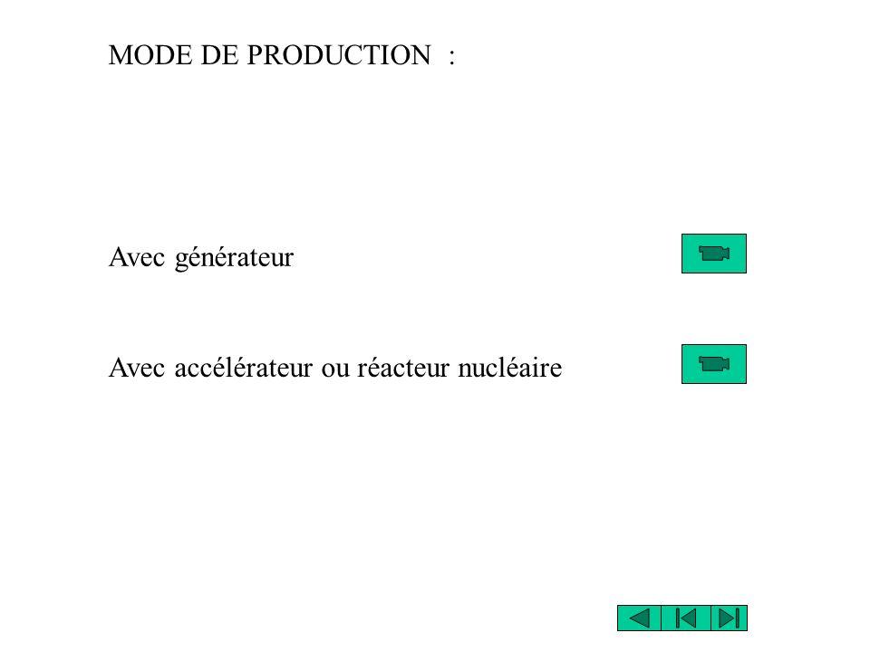 MODE DE PRODUCTION : Avec générateur Avec accélérateur ou réacteur nucléaire