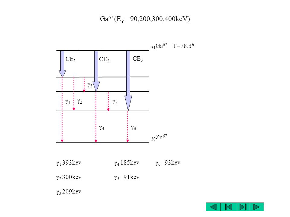 Ga67 (Eg = 90,200,300,400keV) 31Ga67 T=78.3h CE1 CE2 CE3 g3 g2 g1 g5