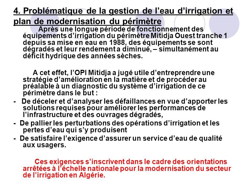 4. Problématique de la gestion de l'eau d'irrigation et plan de modernisation du périmètre