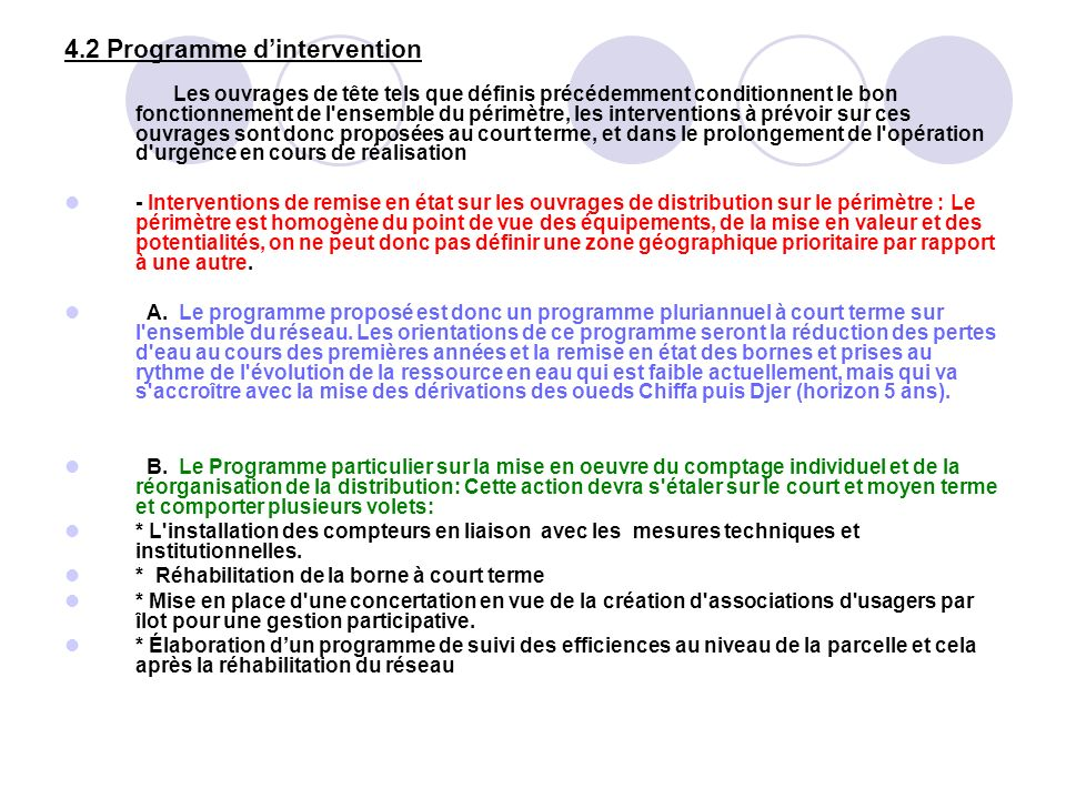 4.2 Programme d'intervention