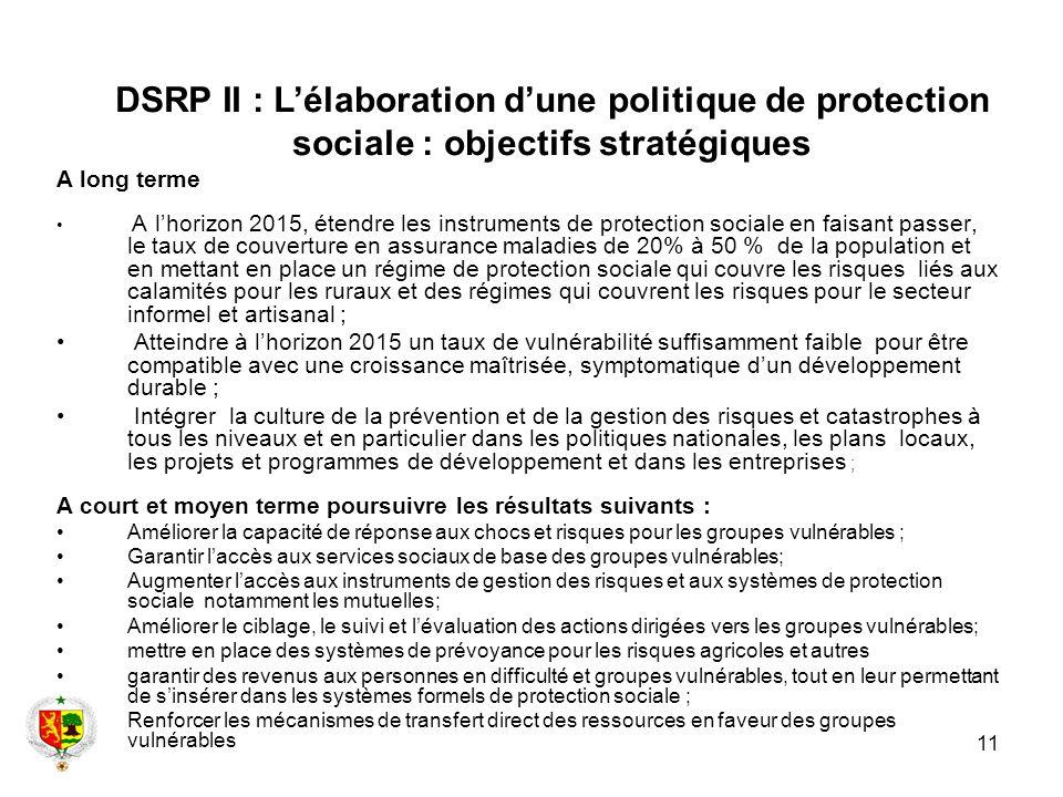 DSRP II : L'élaboration d'une politique de protection sociale : objectifs stratégiques