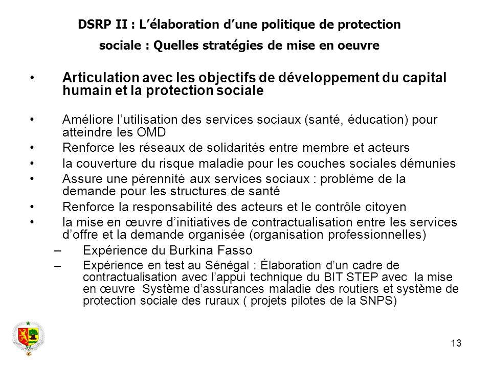 DSRP II : L'élaboration d'une politique de protection sociale : Quelles stratégies de mise en oeuvre
