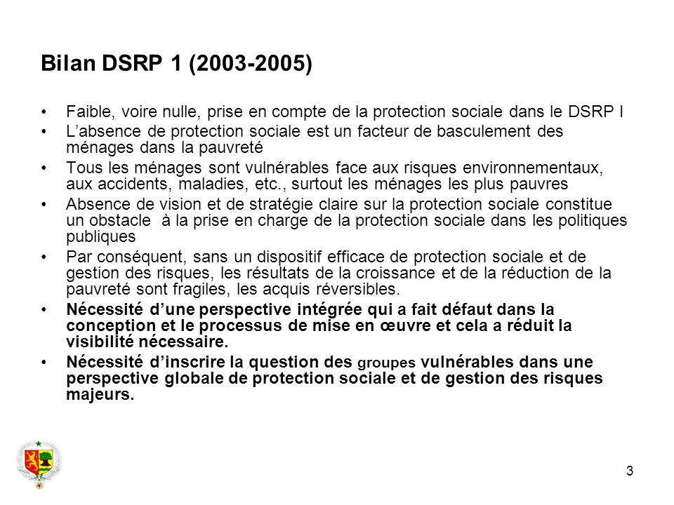 Bilan DSRP 1 (2003-2005) Faible, voire nulle, prise en compte de la protection sociale dans le DSRP I.