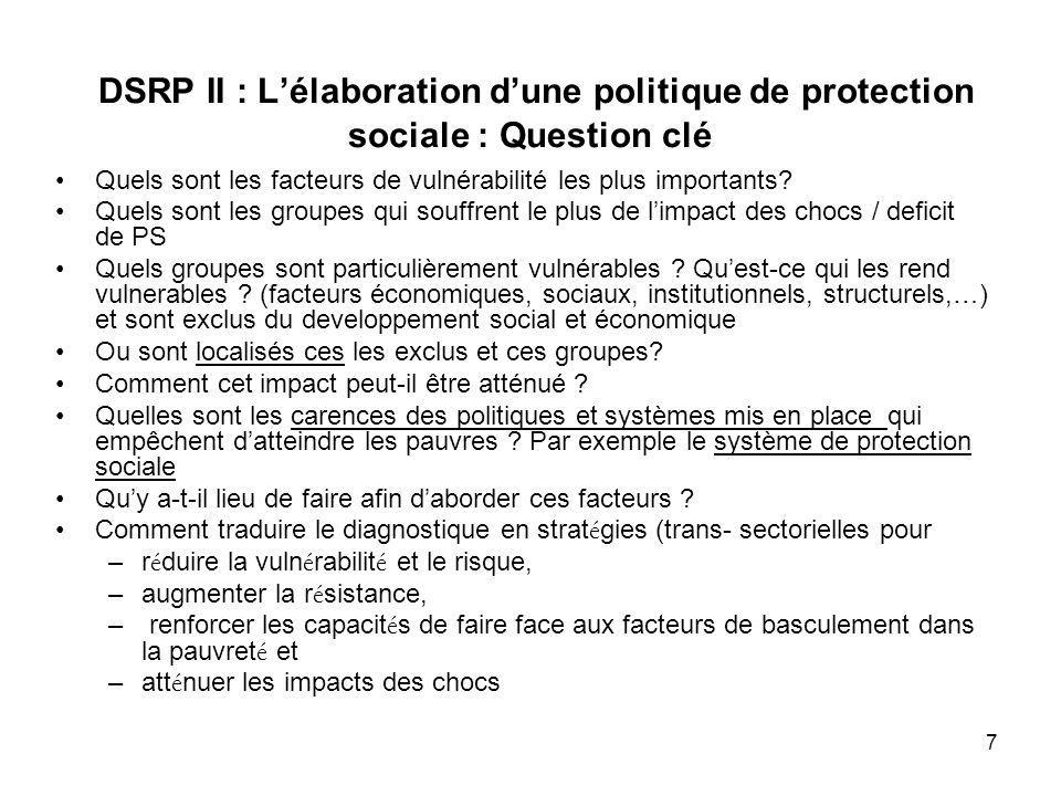 DSRP II : L'élaboration d'une politique de protection sociale : Question clé