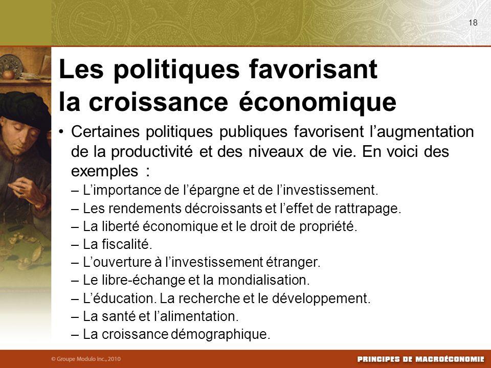 Les politiques favorisant la croissance économique