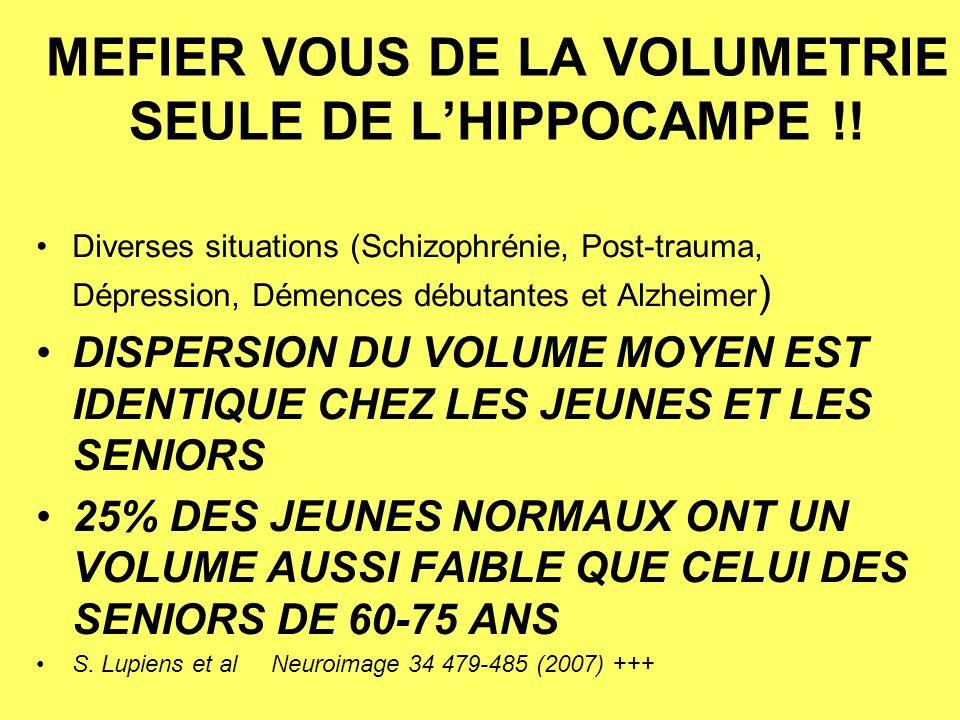 MEFIER VOUS DE LA VOLUMETRIE SEULE DE L'HIPPOCAMPE !!