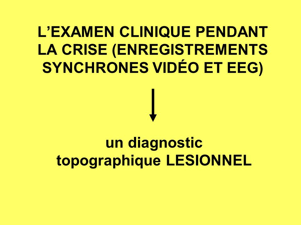 un diagnostic topographique LESIONNEL