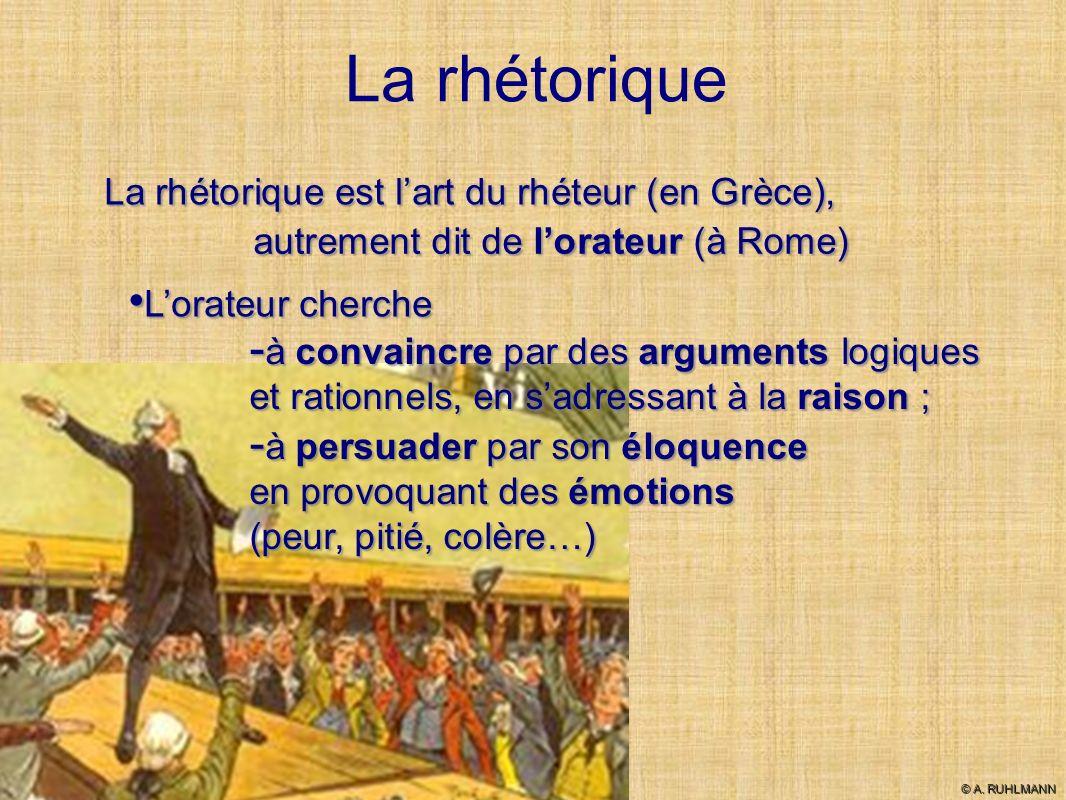 La rhétorique La rhétorique est l'art du rhéteur (en Grèce),