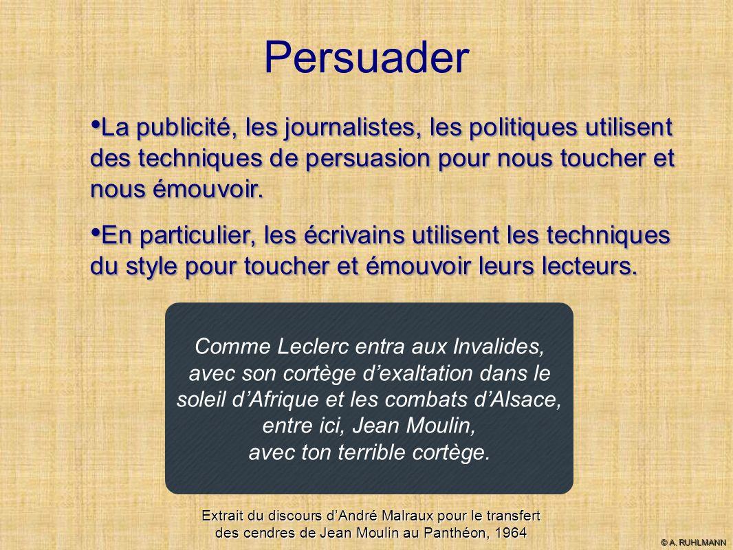 Persuader La publicité, les journalistes, les politiques utilisent des techniques de persuasion pour nous toucher et nous émouvoir.