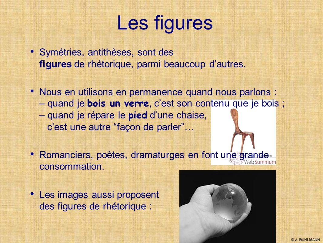 Les figures Symétries, antithèses, sont des figures de rhétorique, parmi beaucoup d'autres.