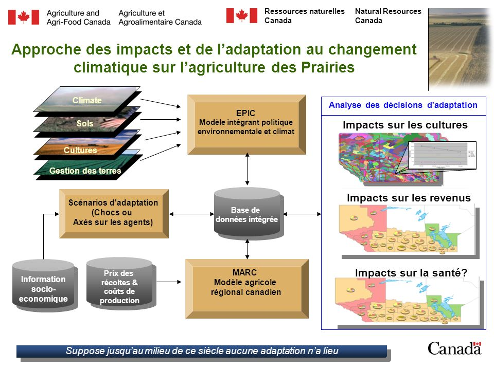 Approche des impacts et de l'adaptation au changement climatique sur l'agriculture des Prairies
