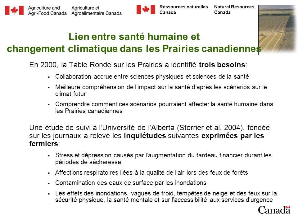 Lien entre santé humaine et changement climatique dans les Prairies canadiennes