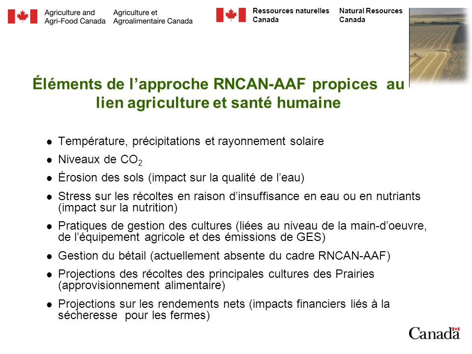 Éléments de l'approche RNCAN-AAF propices au lien agriculture et santé humaine