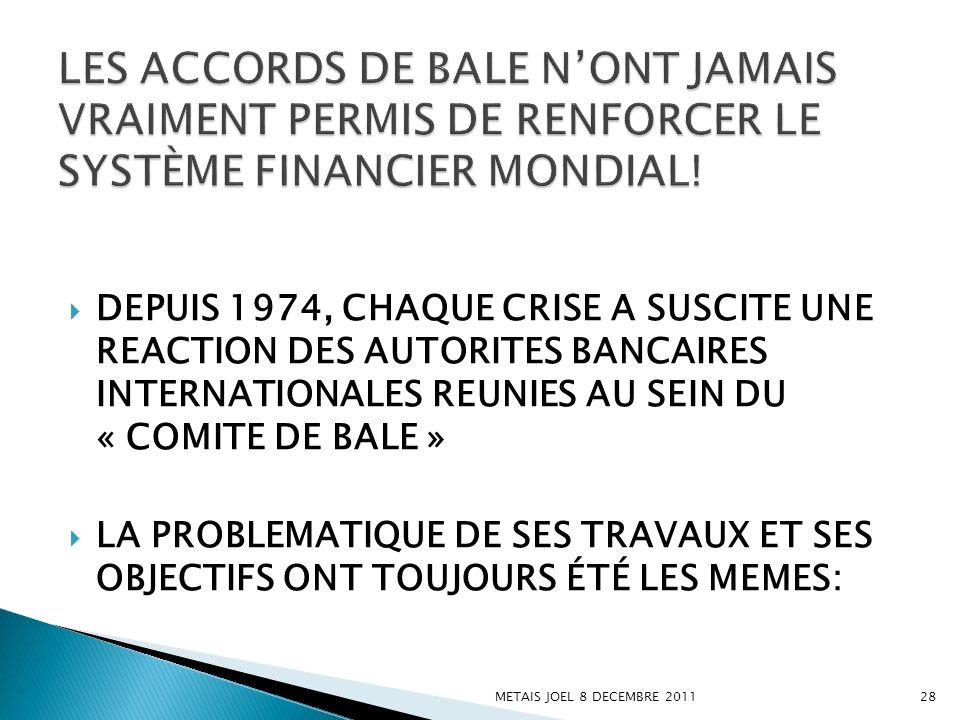 LES ACCORDS DE BALE N'ONT JAMAIS VRAIMENT PERMIS DE RENFORCER LE SYSTÈME FINANCIER MONDIAL!