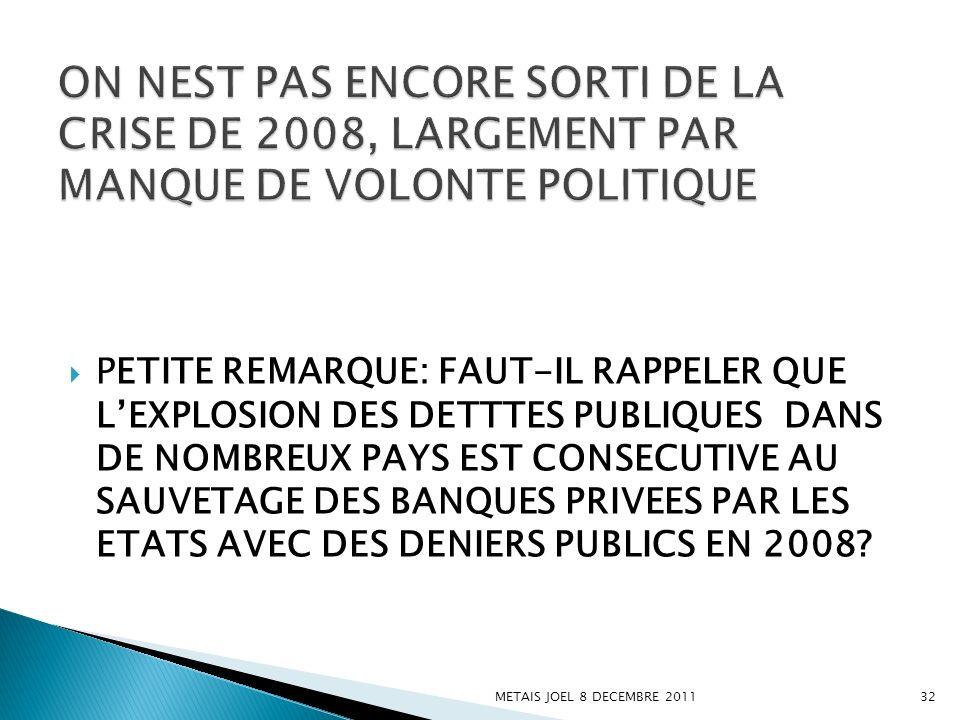 ON NEST PAS ENCORE SORTI DE LA CRISE DE 2008, LARGEMENT PAR MANQUE DE VOLONTE POLITIQUE