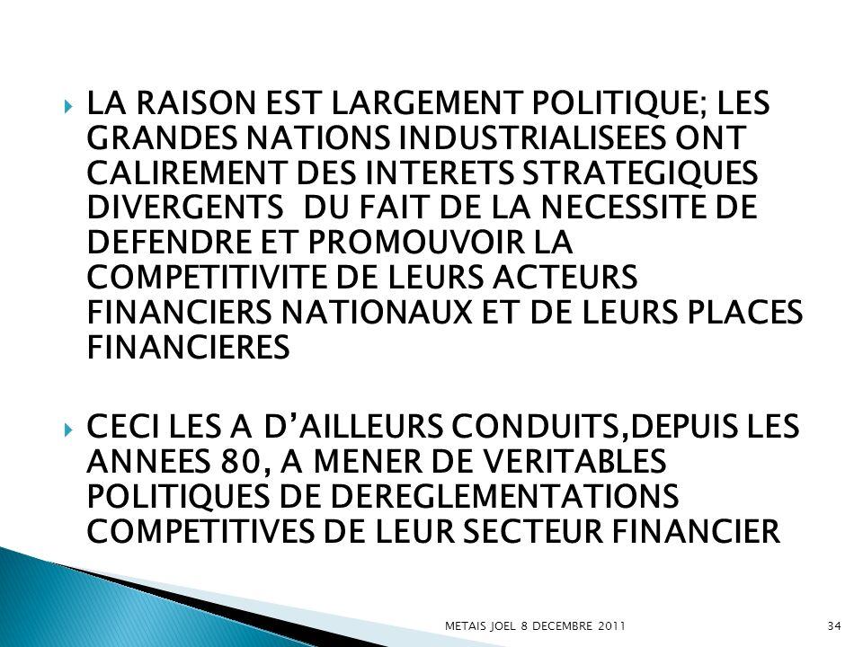 LA RAISON EST LARGEMENT POLITIQUE; LES GRANDES NATIONS INDUSTRIALISEES ONT CALIREMENT DES INTERETS STRATEGIQUES DIVERGENTS DU FAIT DE LA NECESSITE DE DEFENDRE ET PROMOUVOIR LA COMPETITIVITE DE LEURS ACTEURS FINANCIERS NATIONAUX ET DE LEURS PLACES FINANCIERES