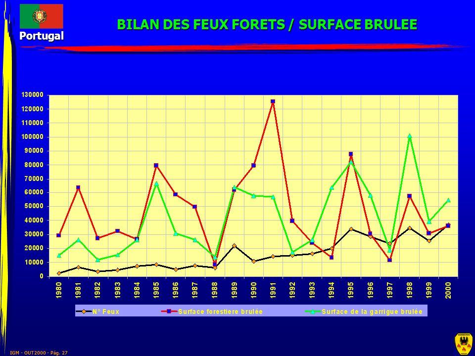 BILAN DES FEUX FORETS / SURFACE BRULEE