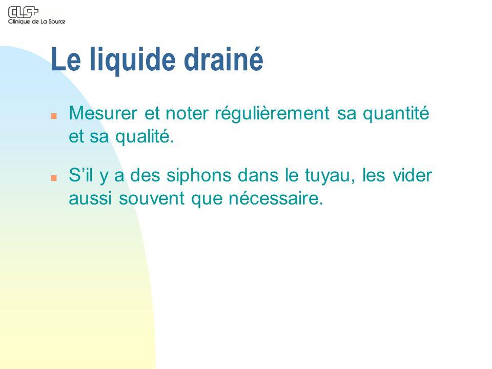 Le liquide drainé Mesurer et noter régulièrement sa quantité et sa qualité.