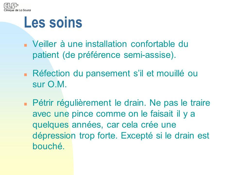 Les soins Veiller à une installation confortable du patient (de préférence semi-assise). Réfection du pansement s'il et mouillé ou sur O.M.
